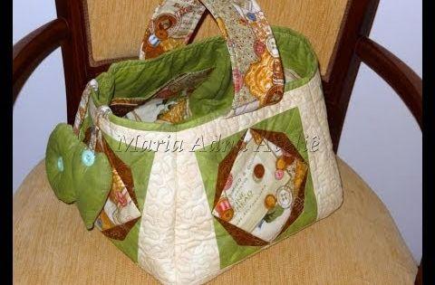 Cesto cesta de costura em patchwork patchwork - Cesta de costura ...