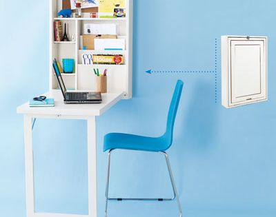 Tiny fold down desk with wall storage