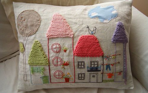 Houses pillow - applique, embroidery and knitting. Excellent.