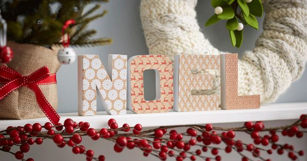 How to Decorate Christmas Mache Letters : Christmas paper, Decorating and DIY Christmas