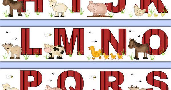 Farm Animal Alphabet Wallpaper Border Wall Decals Barnyard