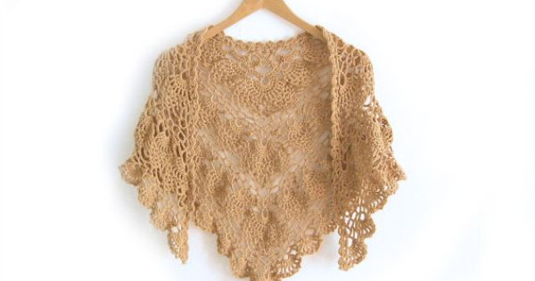 Crocheted Neckwarmer  Kerchief Small Shawl  by ElvishThings #crochet #accessories #shawl #wrap #openwork #scarf #knit #neckwarmer #women #ochre #lace #sandy #brown #handmade #handknit Triangular kerchief fall winter fashion woman kerchif