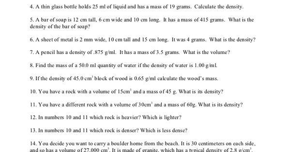 Introduction To Density Worksheet Density Worksheet Elementary School Science Elementary Science Activities