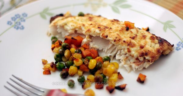 Baked fish fillet with cream cheese and mayo topping for Swai fish recipes food network