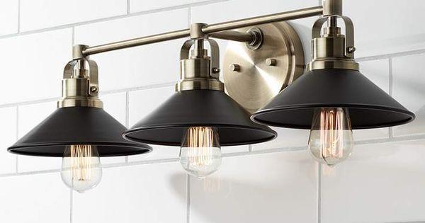 Possini Euro Clive 27 W Brass And Black 3 Light Bath Light 69h78 Lamps Plus Bath Light Home Design Decor Industrial Bath Lighting