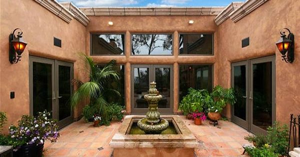 Spanish Style Courtyard With Fountain Fountains Water