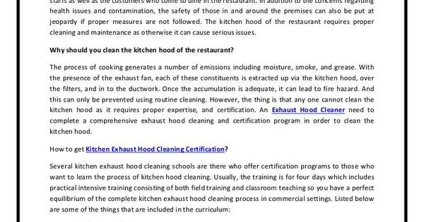 Kitchen View Kitchen Exhaust Hood Cleaning Certification Room ...