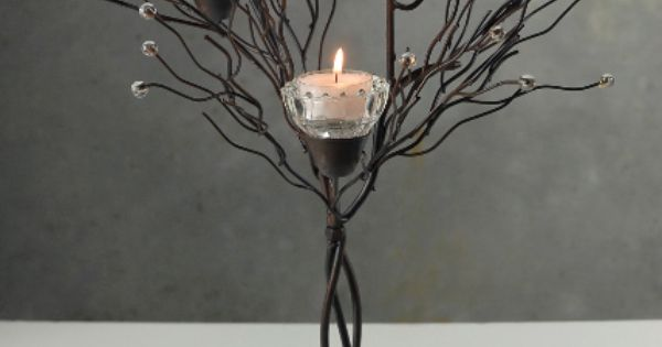 "Centerpiece: 16"" Tabletop Metal Twig Tree Candle Holder ..."