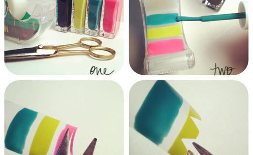 DIY Nail Stickers - Scotch tape, nail polish, and a top coat!