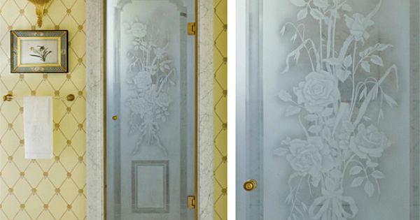 Etched Glass Shower Door Bathrooms Pinterest