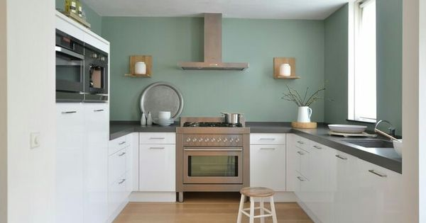 Witte keuken gekleurde muur keuken pinterest muur keuken en keukens - Keuken rode en grijze muur ...