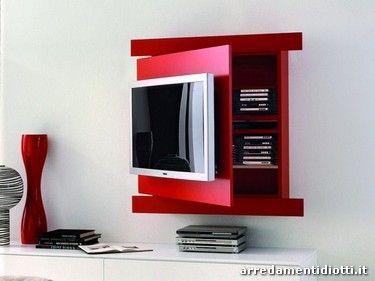 Sistema Porta Tv Diotti A F Arredamenti Arredamento Salotto Bianco Tv A Muro Arredamento