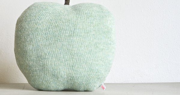 Image of Apple shaped cushion - medium size color mint green