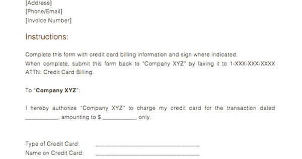 credit card payment form obtain authorization use letter sample - sample credit card authorization form