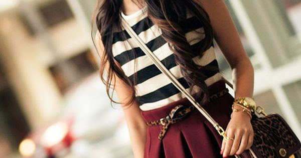 stripes with burgundy, definitely want a basic skirt like that, so cute