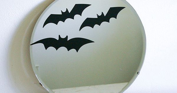 Spooky Halloween Decor - Vintage Round Beveled Mirror with Bats. $43.00, via