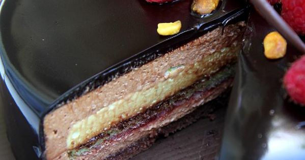 Ambroisie: Chocolate Joconde, Pistachio Joconde, Raspberry Jam, Dark Chocolate Mousse, Pistachio Mousse