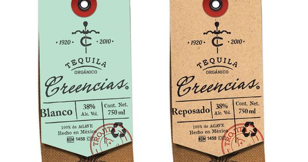 Creencias Organic Tequila | tag design, packaging design