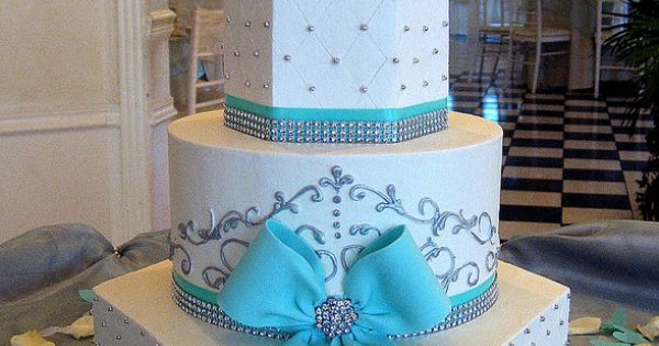 Elegant White and Tiffany Blue Wedding Cake with Bling without the bow..