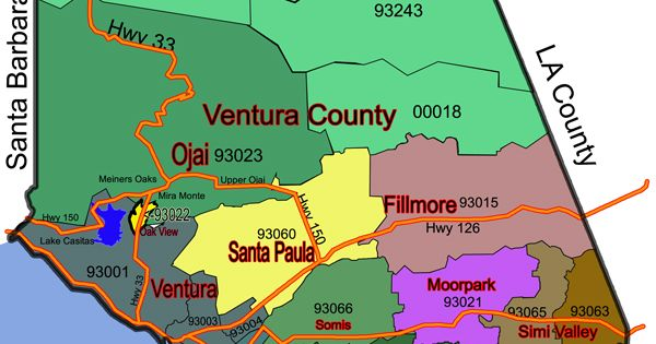 Map of the Ventura County in California. | life ...