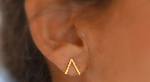 Mountain studs . sterling silver or vermeil by LUNATICART on Etsy