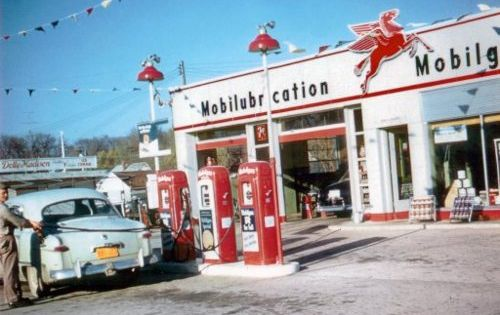 1950s full service gas stations: Gas pumped, oil checked, windows washed. And