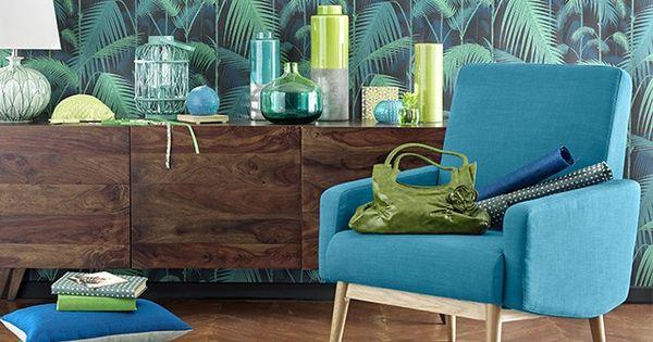 D co tropicale vase vert anis monsoon coussin lin et for Decoration maison tropicale