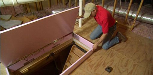 How To Insulate Attic Drop Down Access Stairs Today S Homeowner Attic Stair Insulation Attic Staircase Attic Renovation