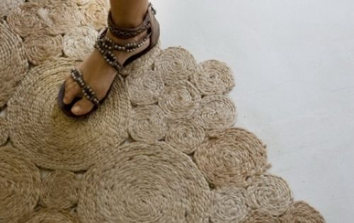 DIY rug of jute or sisal rope... also great as art piece