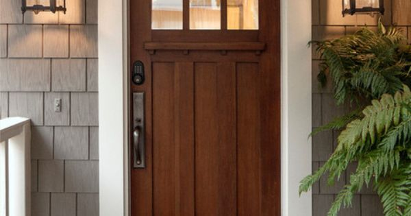 Oak Exterior Front Door With Gray House And White Trim Lighting Hardware Black House Plans