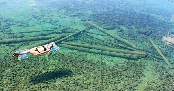Flathead Lake, Montana. Because of the crystal-clear water, Flathead Lake in Montana