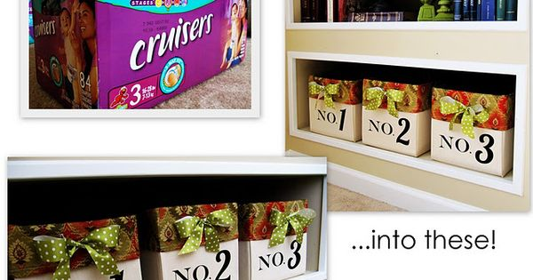 diy canvas bins from diaper boxes