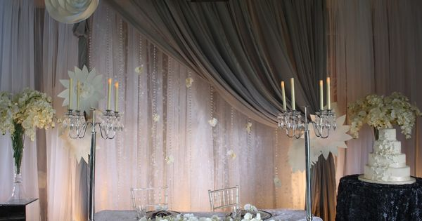 Grey Sheer wedding backdrop from Village Vines Wedding and ...