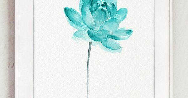 peinture aquarelle, affiche de fleur abstraite, Art Print, eau ...