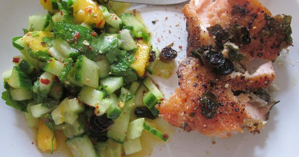 pan seared salmon with plum cucumber salad recipes dishmaps pan seared ...