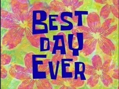 The Title Of Season 4 Episode 20 Was Called Best Day Ever Spongebob Time Cards Spongebob Funny Spongebob