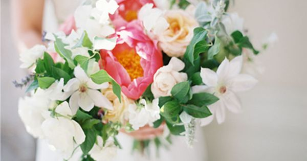 tulip bouquet peonies with sweet peas and clematis flowers