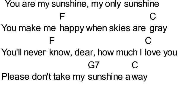 You Are My Sunshine Chords C. You Are My Sunshine sheet music by ...