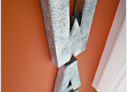 Hobby Lobby cardboard letters painted with metal spraypaint - so light you