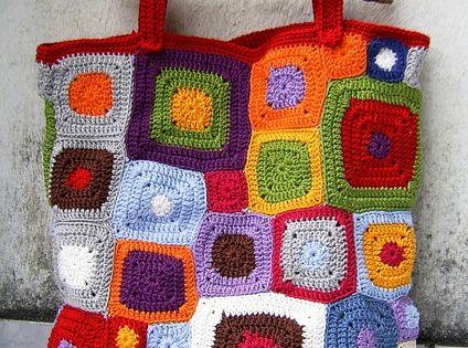 Bolsa De Tecido Com Alça De Bambu : Bolsa com quadrados coloridos em crochet e al?a de bambu