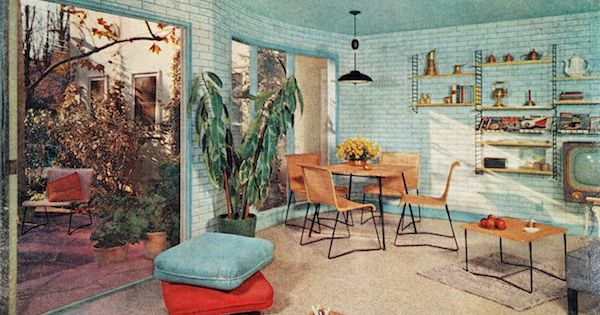 Midcentury modern retro vintage 50s 60s interior design for Modern interior decorating retro furniture