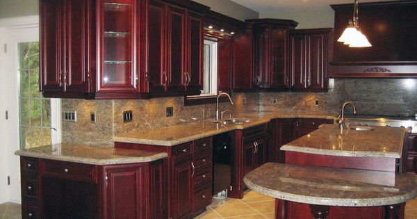 dark wood kitchen cabinets with back splashes | Cherry Wood Cabinets