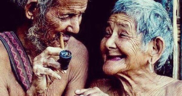 Old love always smiles so timeless this old couple smiling