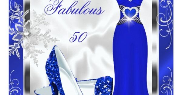 Fabulous 50 Party Royal Blue And White Silver Winter