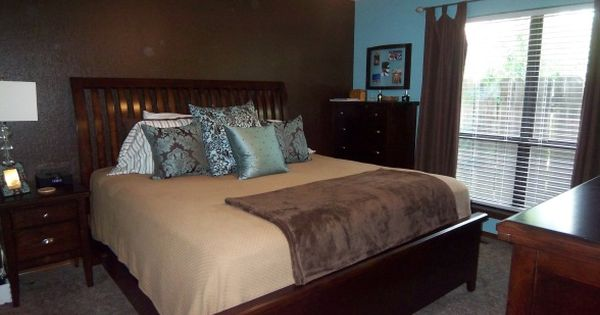 Master Bedroom Decorating Ideas Blue And Brown blue/brown master bedroom. like the accent wall but in a lighter