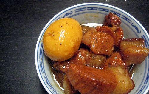 Vietnamese braised pork with hard boiled egg.