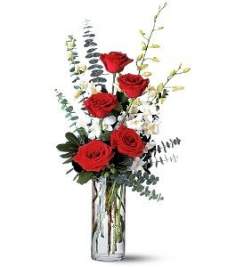 Red Roses And White Orchids In Mckinney Tx Edwards Floral Design Orchid Flower Arrangements Valentines Flowers Send Flowers Online