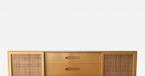 Harvey Probber Lacquered Credenza With Caning By Harvey Probber
