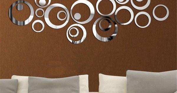 Miroir autocollant autocollant 3d design moderne for Autocollant decoration murale