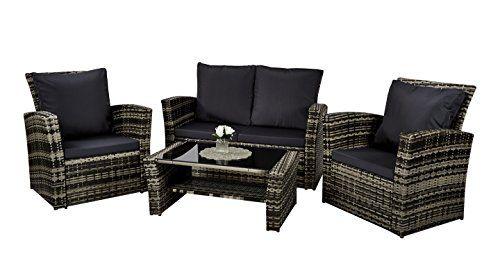Rattan Furniture Set Patio, Grey Rattan Garden Furniture Patio Sofa Chair Set Conservatory Alfresco